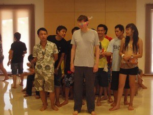 andrew blindfolded bystudents in thailand