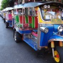 A row of tuk tuks seen in Bangkok