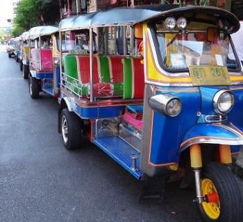 A row of tuk tuks seen in Bangkok