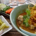The above is a photo of Khao Soi Gai that we ate often when staying in Chiang Mai, Thailand. The meal consists of some rich brown gravy, softened egg noodles, a chicken leg, topped with crispy fried egg noodles. It all comes with a mixture of pickled vegetables, a...