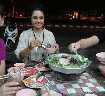 Tanya, Zoe and Kenton - enjoying the Thai BBQ on offer