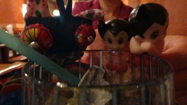 Astro, Uran and Bat Doll Toasting Us On Our Second Wedding Anniversary