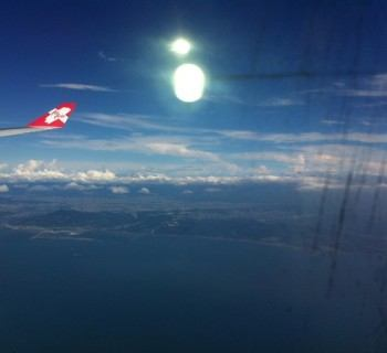 Air Asia Airplane Wing Sun And Taiwan