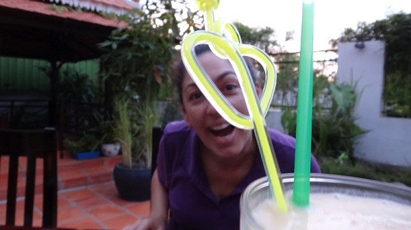Sihanoukville - Sandan Restaurant - Tanya With Drink