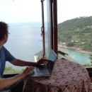 Andrew at the window on Koh Phangan